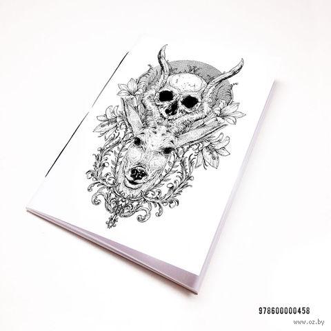 """Блокнот белый """"Косуля с черепом"""" А7 (арт. 458)"""