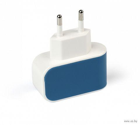Сетевое зарядное утройство SmartBuy COLOR CHARGE Combo, 2.1А, USB + кабель MicroUSB, синее