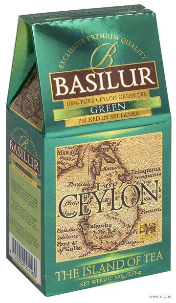 """Чай зеленый листовой """"Basilur. Green"""" (100 г) — фото, картинка"""