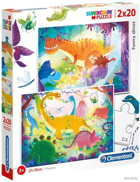 """Набор пазлов """"Смешные динозавры 2в1"""" (40 элементов) — фото, картинка"""