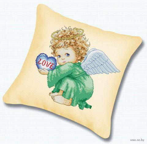 "Вышивка крестом ""Подушка. Милый ангел"" (450х450 мм) — фото, картинка"