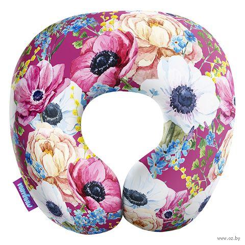 """Подушка под шею """"Оттенки весны. Крупный принт"""" (34х34 см; розовая) — фото, картинка"""