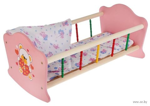 "Кроватка для кукол ""Мой мишка"" (арт. RB-B-P) — фото, картинка"