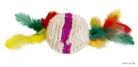 """Игрушка для кошек """"Шарик с перьями"""" (9 см; арт. 22171009) — фото, картинка"""