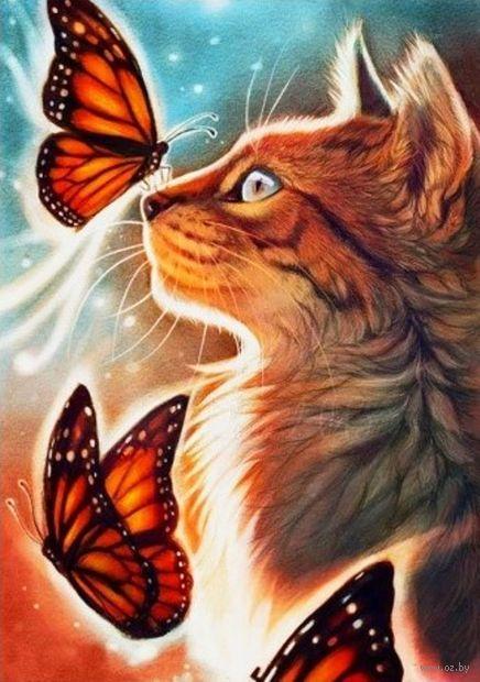 "Алмазная вышивка-мозаика ""Кошка с бабочками"" (400х600 мм) — фото, картинка"