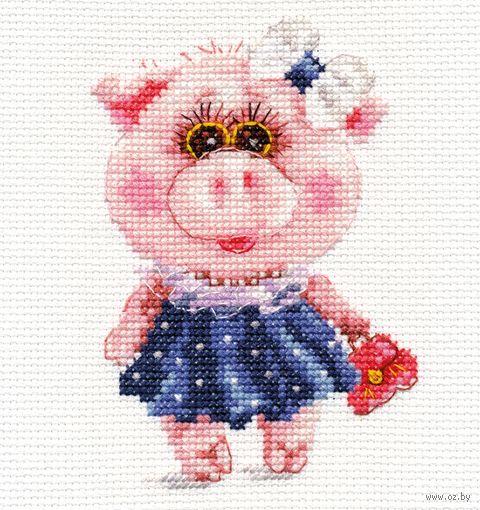 "Вышивка крестом ""Свинка Тося"" (90x120 мм) — фото, картинка"