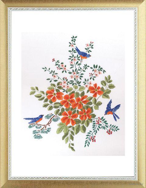 """Вышивка крестом """"Цветы и птицы"""" (300х360 мм) — фото, картинка"""
