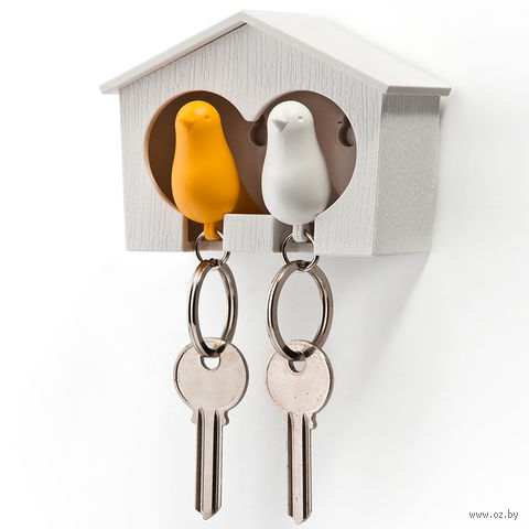 """Брелок-свисток и держатель двойной для ключей """"Sparrow"""" (белый/желтый)"""