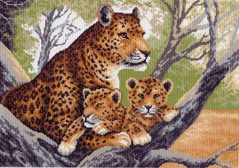 """Канва с нанесенным рисунком """"Гепард с малышами"""" — фото, картинка"""