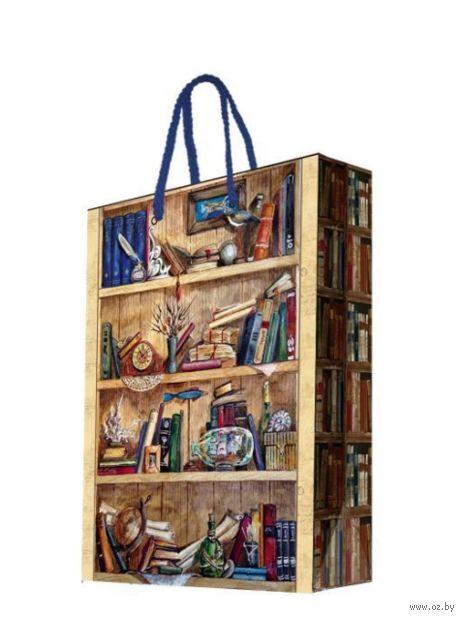 """Пакет бумажный подарочный """"Книжные полки"""" (33х45,7х10,2 см; арт. 44211) — фото, картинка"""