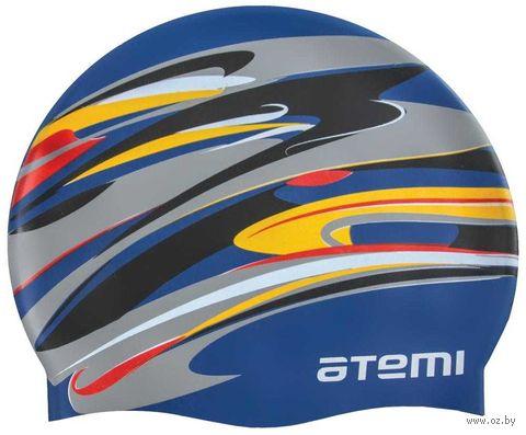 Шапочка для плавания (тёмно-синяя; графика; арт. PSC420) — фото, картинка