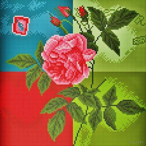 "Алмазная вышивка-мозаика ""Нежная роза"" (300х300 мм) — фото, картинка"