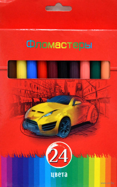 """Фломастеры """"Красная сила"""" в картонной коробке (24 цвета)"""