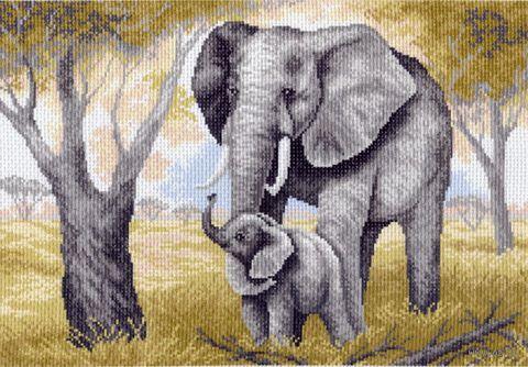 """Канва с нанесенным рисунком """"Слоны"""""""
