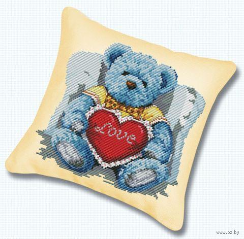 "Вышивка крестом ""Подушка. Медвежонок с сердцем"" (450х450 мм) — фото, картинка"