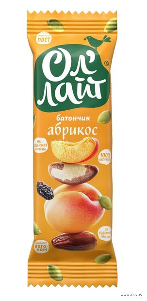 "Батончик фруктовый ""Ол'Лайт. Абрикос"" (30 г) — фото, картинка"