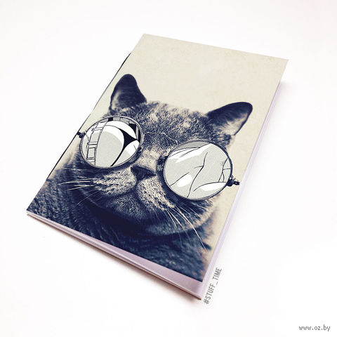 """Блокнот белый """"Кот в очках"""" А6 (812)"""