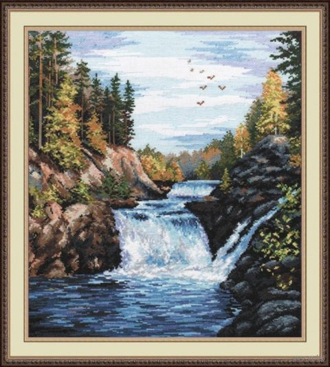 "Вышивка крестом ""Водопад. Кивач"" (290x350 мм) — фото, картинка"