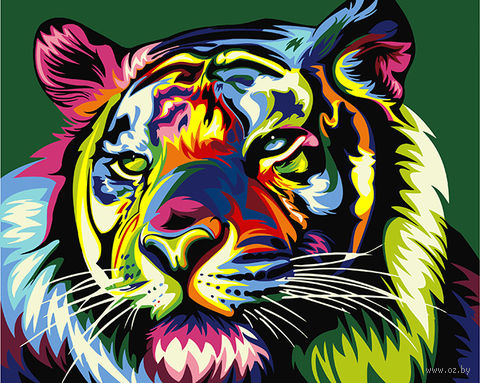 "Картина по номерам ""Королевский радужный тигр"" (400х500 мм) — фото, картинка"