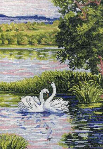 """Вышивка крестом """"Лебеди на пруду"""" (320x220 мм) — фото, картинка"""