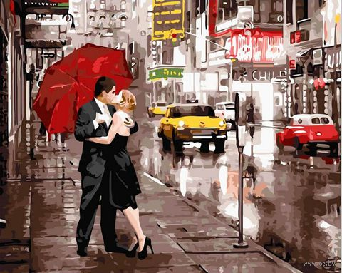 "Картина по номерам ""Поцелуй в Нью-Йорке"" (400х500 мм) — фото, картинка"