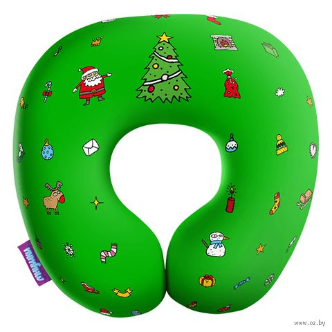 """Подушка под шею """"Любимый праздник"""" (34х34 см; зелёная) — фото, картинка"""