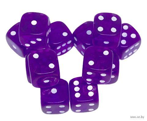 """Набор кубиков D6 """"Прозрачный"""" (12 мм; 12 шт.; фиолетовый) — фото, картинка"""