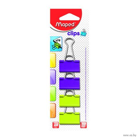 Зажим для бумаги (32 мм; цветной; 4 штуки)