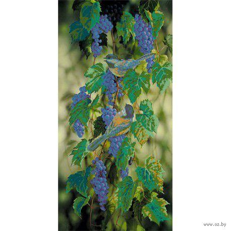 """Канва с нанесенным рисунком """"Птички на синем винограде"""""""