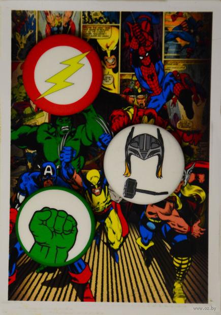 """Набор значков маленьких """"Супергерои"""" (арт. 499) — фото, картинка"""