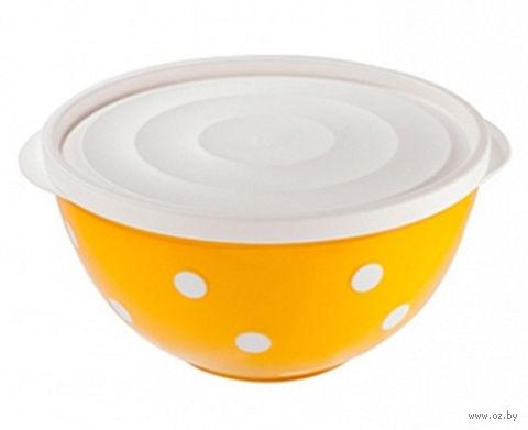 """Салатник двухцветный с крышкой """"Marusya"""" (1,4 л; оранжевый) — фото, картинка"""