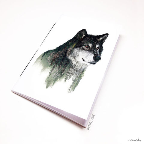 """Блокнот белый """"Волк"""" А6 (941)"""