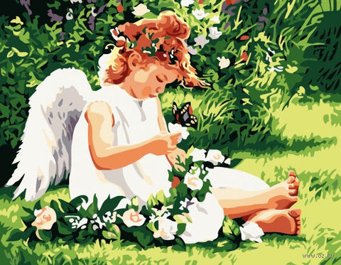 "Картина по номерам ""Ангелочек в саду"" (400x500 мм; арт. MG310)"