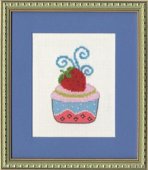 """Вышивка бисером """"Клубничный десерт"""" (105х65 мм) — фото, картинка"""
