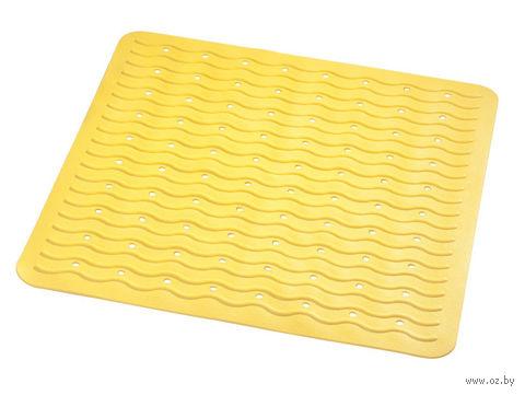 """Коврик для ванной резиновый """"Волна"""" (54х54 см; желтый) — фото, картинка"""