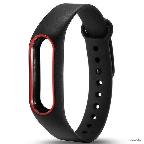Ремешок для Xiaomi Mi Band 2 (черный с красным) — фото, картинка