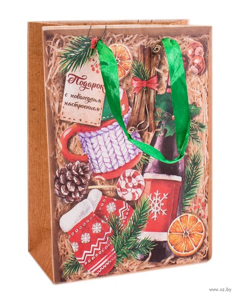 "Пакет бумажный подарочный ""Зимний набор"" (18х23х8 см) — фото, картинка"