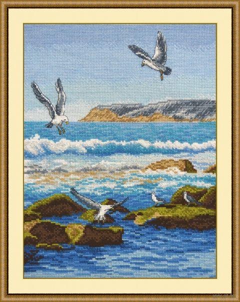 """Вышивка крестом """"Морской прибой"""" (220х300 мм) — фото, картинка"""