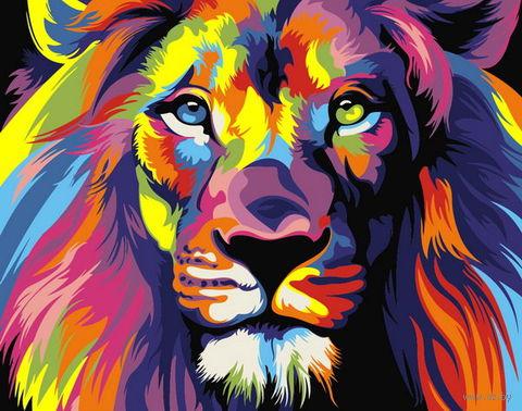 "Картина по номерам ""Радужный лев"" (165х130 мм) — фото, картинка"