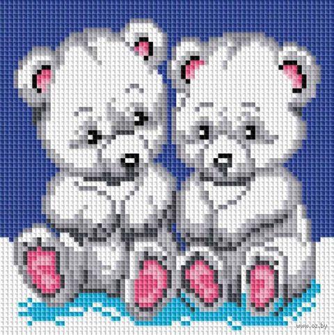 "Алмазная вышивка-мозаика ""Медвежата"" (200х200 мм) — фото, картинка"