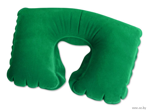 Подушка надувная под голову, в чехле (зеленая)