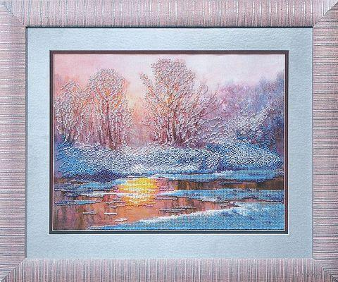 "Вышивка бисером ""Зимнее озеро"" (330х250 мм) — фото, картинка"
