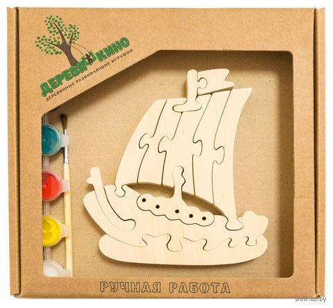 """Набор для росписи по дереву """"Кораблик"""" — фото, картинка"""