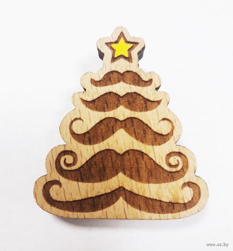 """Значок деревянный """"Новогодняя елка"""" — фото, картинка"""
