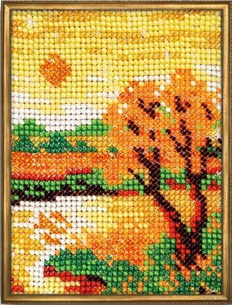 """Вышивка бисером """"Осенний вечер"""" (100х130 мм) — фото, картинка"""