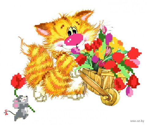 "Вышивка бисером ""Без кота - жизнь не та! Цветы для друзей"" (110х160 мм) — фото, картинка"