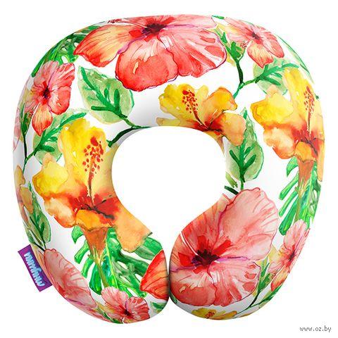 """Подушка под шею """"Тропические цветы. Большие"""" (29х29 см; белая) — фото, картинка"""