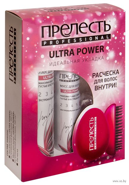"""Подарочный набор """"Ultra Power"""" (лак, мусс, рассческа) — фото, картинка"""