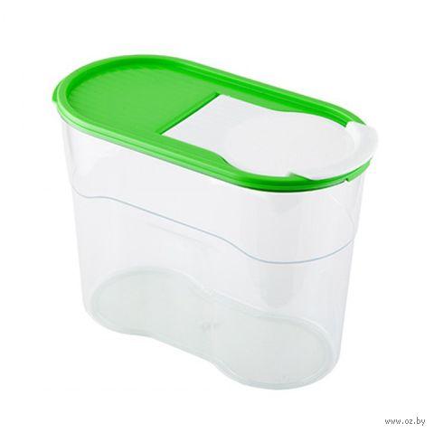 """Банка для сыпучих продуктов пластмассовая """"Люкс"""" (1,1 л) — фото, картинка"""