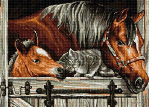 """Алмазная вышивка-мозаика """"Нежность животных"""" (500х360 мм) — фото, картинка"""